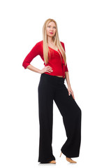 Young woman in flared pants isolated on white