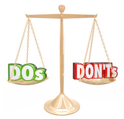 Dos and Donts Words Gold Scale Good Bad Advice