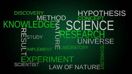 Science, knowledge tag word cloud - green background. Loop able