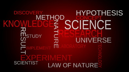 Science, knowledge tag word cloud - red background. Loop able