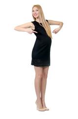 Pretty pregnant woman in mini black dress isolated on white