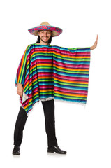 Handsome man in vivid poncho isolated on white
