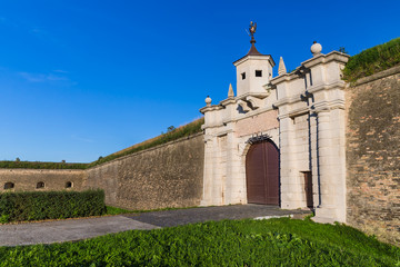 Leopold gate and walls of New Fortress in Slovak town Komarno.