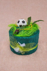 Home made towel football cake gift as a beautiful decoration.