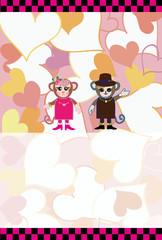 ピンクのハートの可愛い申年のお洒落な猿のカップルの年賀状デザイン