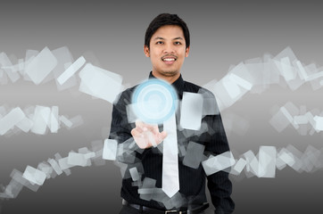 Businessman touch navigating on virtual interface