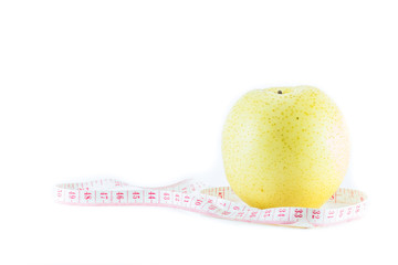 pear fruit with measurement isolated on white