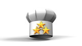 Chef's Hat With Three Stars On White Background