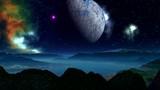 Alien planet, moon, and nebula