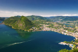 View to Lugano city, lake and Monte San Salvatore, Schweiz