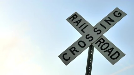 Railroad sign against gradient sky, RIGHT, 4K