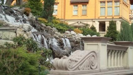 Man-made waterfall in Ukraine Kyiv