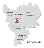 east midlands administrative map poster