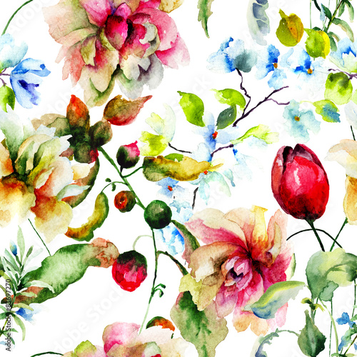 Cotton fabric Decorative wild flowers