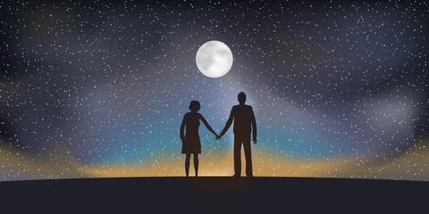 Paysage Couple Lune