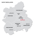 west midlands administrative map poster