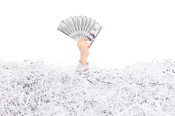 Hand holding money in a pile of shredded paper