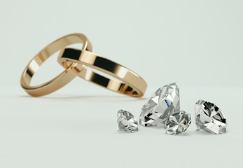 Diamanten und verbundene Ringe