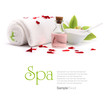 Spa concept. Oil, orchid and towel with red petals.