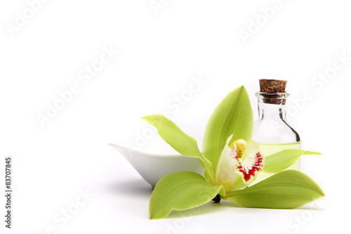 Spa concept. Green orchid and spa oil, isolated on white.