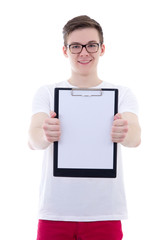 handsome teenage boy showing clipboard with copy space isolated