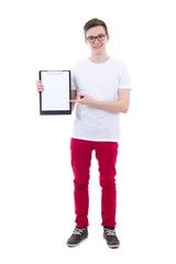 handsome young man holding clipboard with copy space isolated on