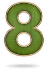 Green blank number 8 shape blackboard