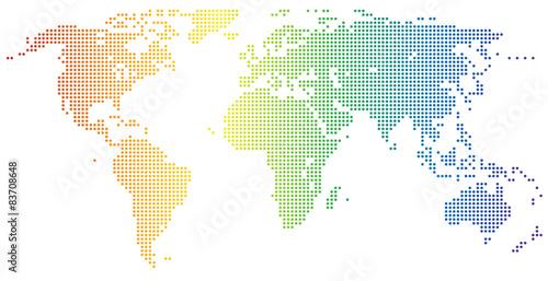 Weltkarte - gepunktet in den Regenbogenfarben Poster