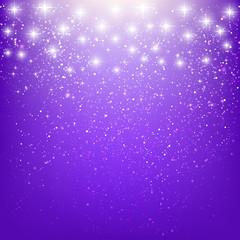 Shiny stars on purple background