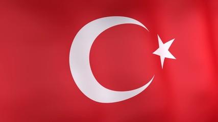 3d animation of turkey national flag.