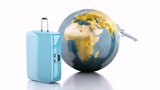 travel suitcase, airplane and world globe. 3d animation