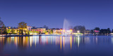 Fototapety beach of city bardolino with reflections in lake at night