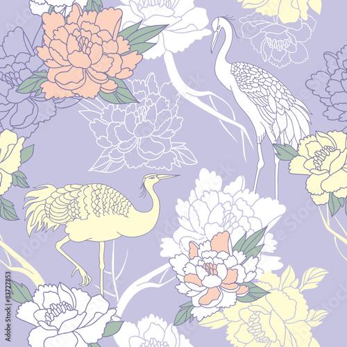 【掛け時計】牡丹の花と二羽の鶴