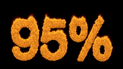 Glowing 95 percent icon in flaming fiery numerals