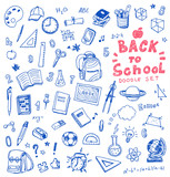 Hand drawn vector illustration set of school sign and symbol doodles elements.