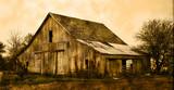 Old farm barn in sepia - 83742278