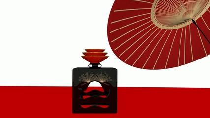 酒盛りと和傘