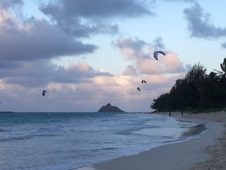 Kiteboarders at Kailua Beach Oahu