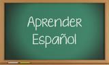 Fototapety Learn Spanish written on blackboard.