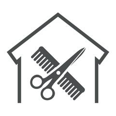 Icono aislado peluqueria gris