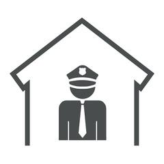 Icono aislado policia gris