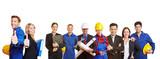 Fototapety Arbeiter und Geschäftsleute als Team