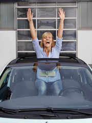 Woman loves her car