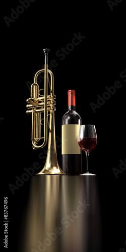 Fototapeta Un bicchiere di vino dopo il concerto.