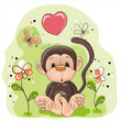 Monkey with flowers