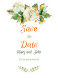 Fototapety Vector beautiful wedding card of white rose and other.