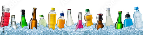 various beverages in crushed ice