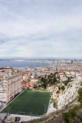 Vue du stade de Marseille du haut de la Bonne Mère