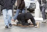 Homeless beggar begging