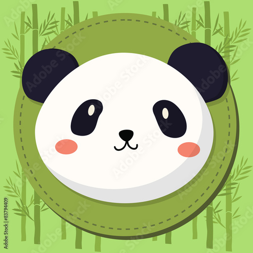 Obraz Cute Panda Head Cartoon in Green Bamboo Background